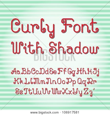 Curly font with shadow