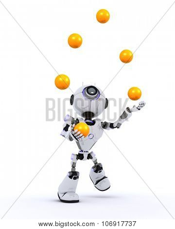 3D Render of a Robot juggling balls