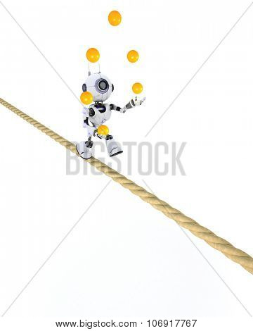 3D Render of a Robot juggling on a tight rope