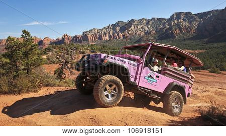 A Pink Jeep Tour On Broken Arrow Trail