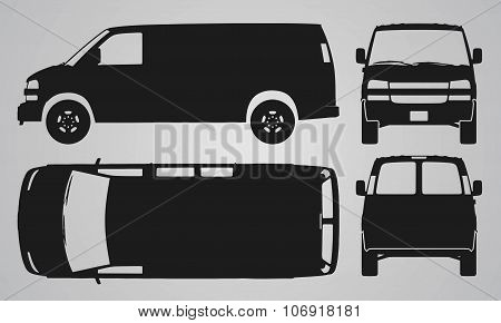 Front, back, top and side van car projection
