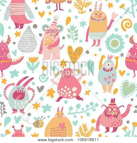 Lovely seamless pattern with awesome monsters in hearts, stars and flowers for children designs. Sweet smiling creatures in warm colors in vector. Awesome childish background