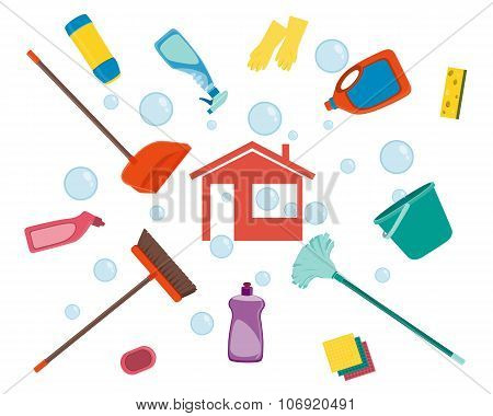 House cleaning. Poster tools for cleaning on a white background and soap bubbles. Vector illustratio