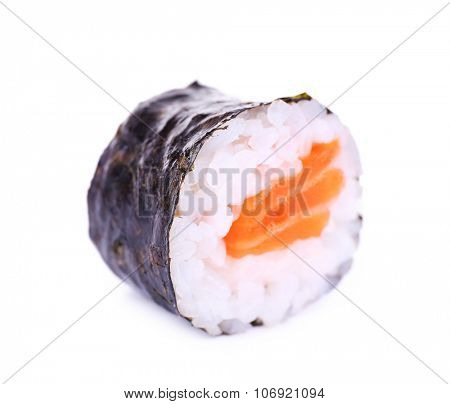 One piece of tasty maki rolls isolated in white