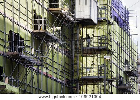 Construction site with scaffolding