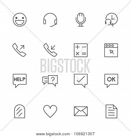 Call center and customer service icons set