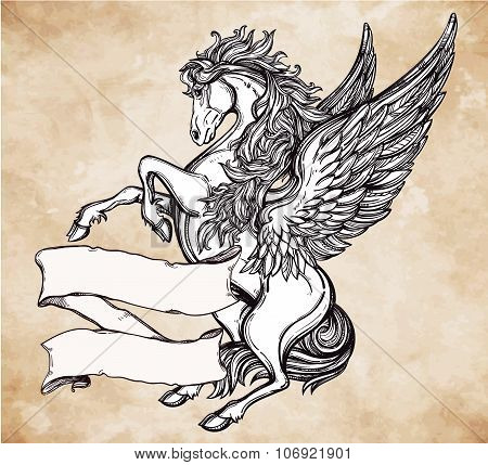 Vintage Pegasus with scroll for your text.