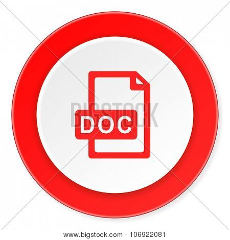 doc file red circle 3d modern design flat icon on white background