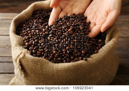 Hands in sac with roasted coffee beans on wooden table