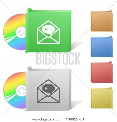 open mail with chat. Box with compact disc. Raster illustration.