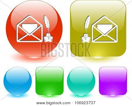 mail with feather and inkstandn. Raster interface element.