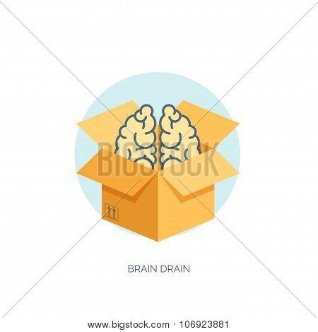 Flat carton box with brains. Brain drain.