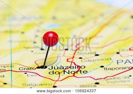 Juazeiro do Norte pinned on a map of Brazil