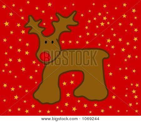 Red Nosed Reindeer And Stars