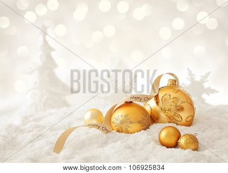 christmas ornaments and snow