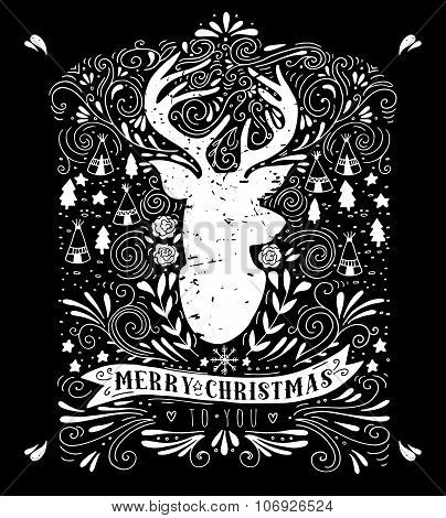 Merry Christmas Poster With Reindeer