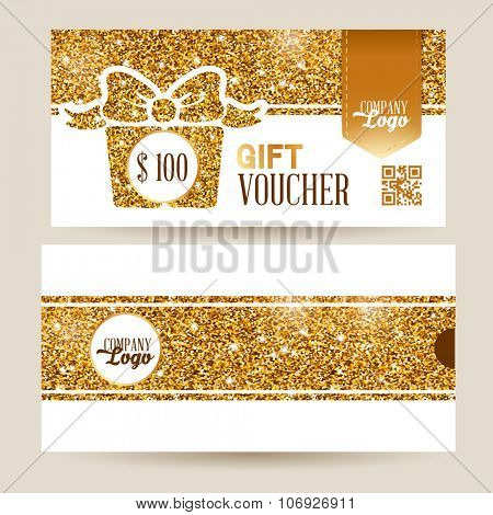 Gift voucher template with luxury gold glitter texture pattern and envelope design. White background. Vector illustration.