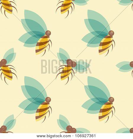 Bees seamless pattern