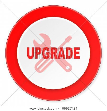 upgrade red circle 3d modern design flat icon on white background