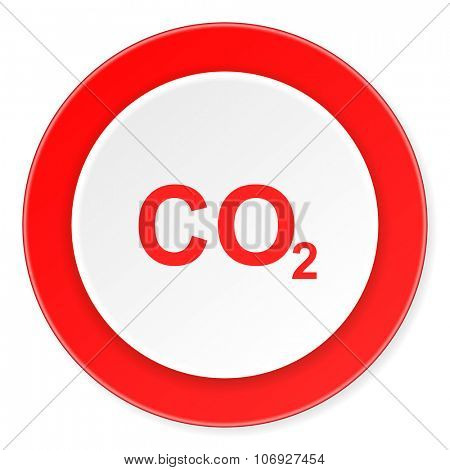 carbon dioxide red circle 3d modern design flat icon on white background