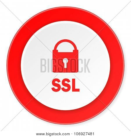 ssl red circle 3d modern design flat icon on white background