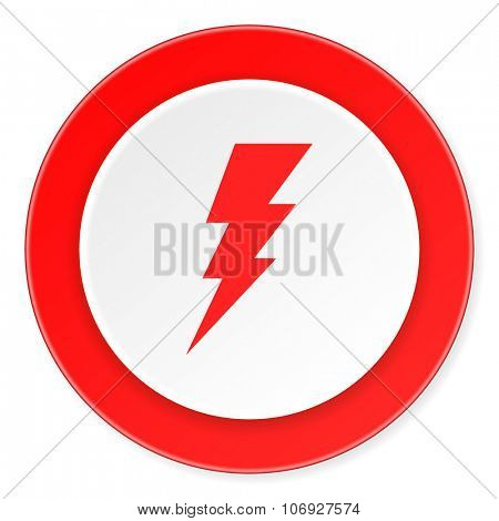 bolt red circle 3d modern design flat icon on white background
