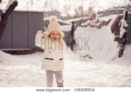 Little Girl Having Fun In Winter