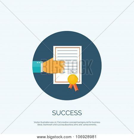 Vector illustration. Flat background with hand and winners certivicate. Business award.