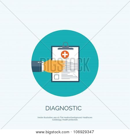Vector illustration. Flat background with hand and medical report. First aid, diagnostic.