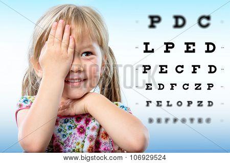 Cute Little Girl Reviewing Eyesight.