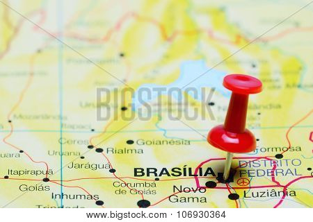 Brasilia pinned on a map of Brazil