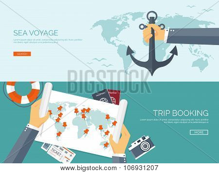 Vector illustration. Flat backgrounds set. Travel and exploring. Trip, voyage. Summer vacation, holi