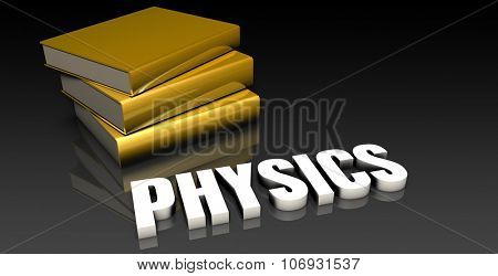 Physics Subject with a Pile of Education Books