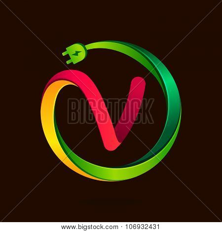 V Letter With Wire Plug Icon.