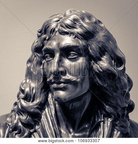 Moliere  Jean-Baptiste Poquelin statue head.