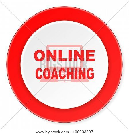 online coaching red circle 3d modern design flat icon on white background