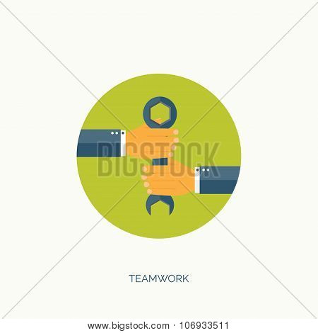 Vector illustration. Flat wrench and hand. Repair service. Teamwork. Business  and cooperation.