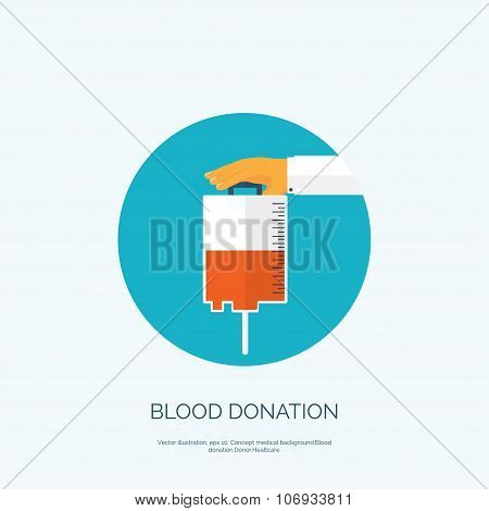 Vector illustration. Flat background with hand and blood container. Blood donation.