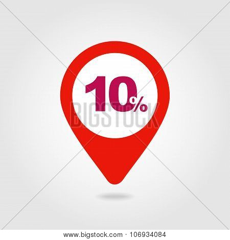 10 Ten Percent Sale Pin Map Icon. Map Point.
