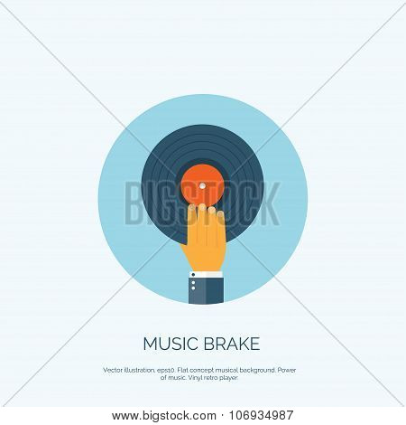 Vector illustration. Flat background with hand and vinyl. Music.