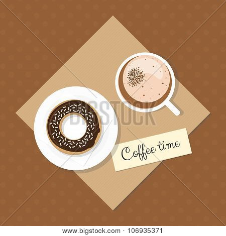 Coffee with donut on dotted background.