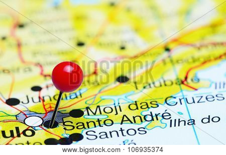 Santo Andre pinned on a map of Brazil
