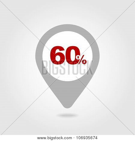 60 Sixty Percent Sale Pin Map Icon. Map Point.