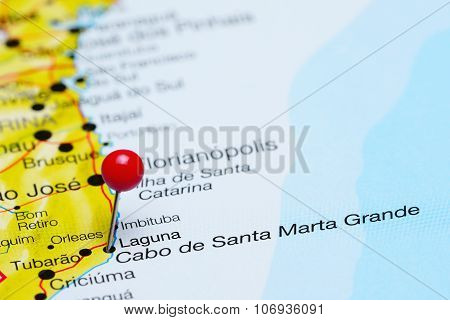 Laguna pinned on a map of Brazil