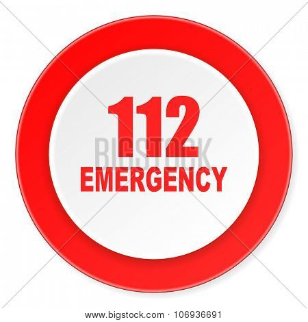 number emergency 112 red circle 3d modern design flat icon on white background