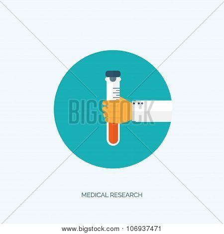 Vector illustration. Flat medical background with hand and flask. First aid and diagnostic. Medical
