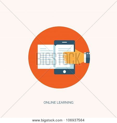 Flat vector illustration. Study and learning concept background. Smartphone and book. Distance educa