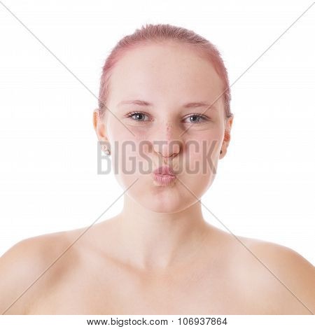 young woman with puffed cheeks