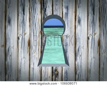 Keyhole on the wooden wall, the door to nature