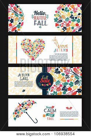 Fall Set. Leaves Composition. Banners Of Season.